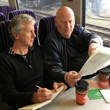 Blake Morrison and Gavin Bryars on the Northern train from Hull to Goole