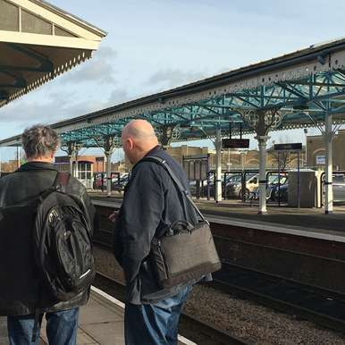 Blake Morrison and Gavin Bryars at Goole station